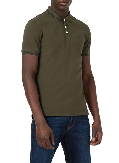 Emporio Armani  Pamuklu Düğmeli Polo T Shirt Erkek Polo 8N1F30 1Jptz 0582 Haki